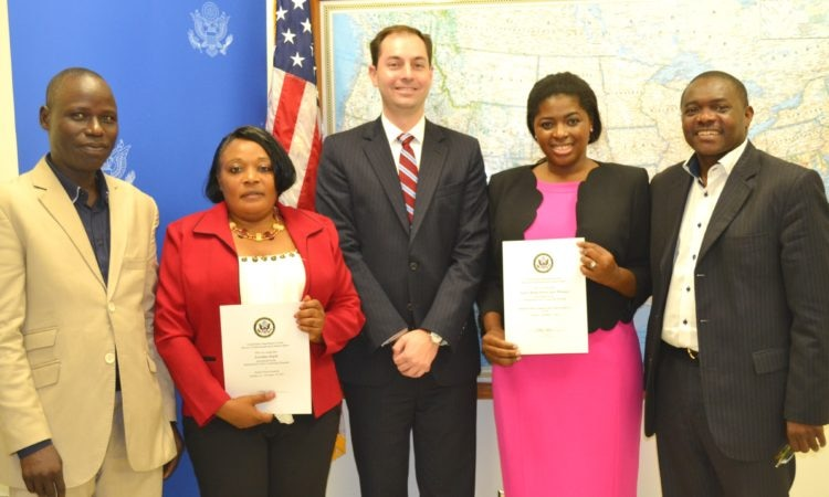 From left to right: Bouba Monglo, U.S. Embassy Information Specialist; Loveline Enjeh; Ryan Grizzle, Acting Public Affairs Officer; Persis Manjo Mbangsi; Mathias Tientcheu, U.S. Embassy Cultural Affairs Specialist